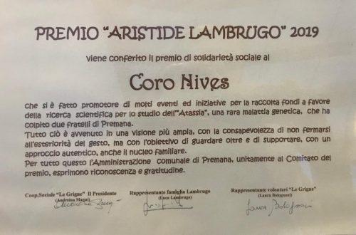 """Il coro Nives riceve il premio """"Aristide Lambrugo"""""""